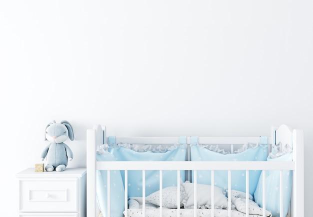Maquete de parede na sala do berçário na parede de fundo de cores brancas