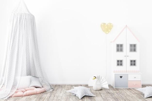 Maquete de parede no quarto das crianças com fundo de cores brancas
