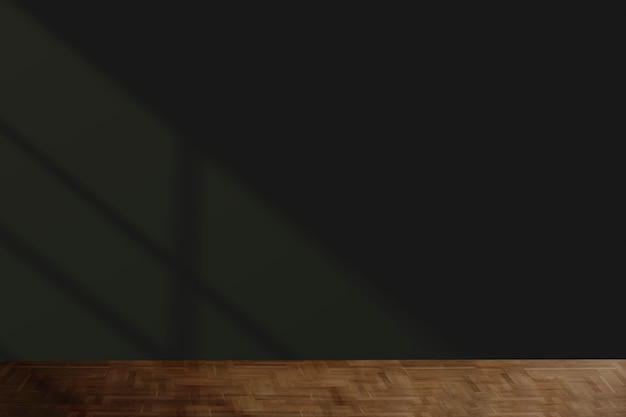 Maquete de parede preta com piso de madeira