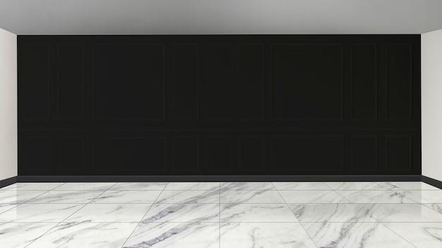 Maquete de parede preta com piso de mármore branco