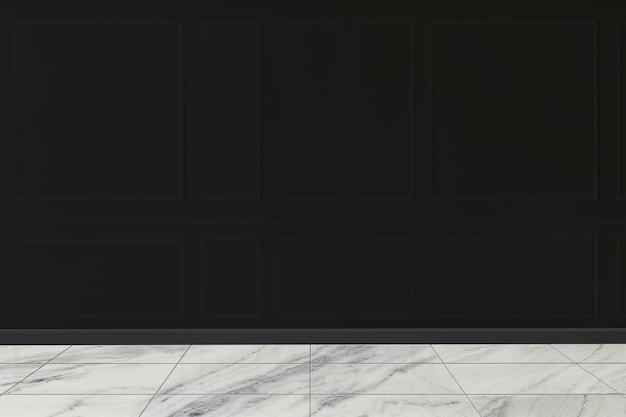 Maquete de parede preta com piso de mármore