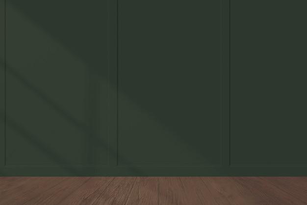 Maquete de parede verde escuro com piso de madeira