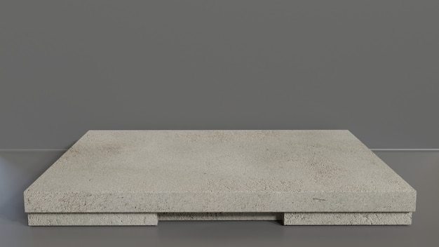 Maquete de pedra de renderização modelo 3d ou vitrine de produto moderno