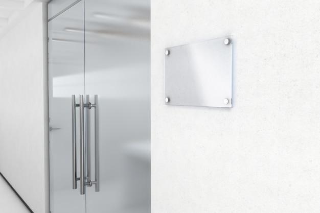 Maquete de placa de nome de vidro em branco