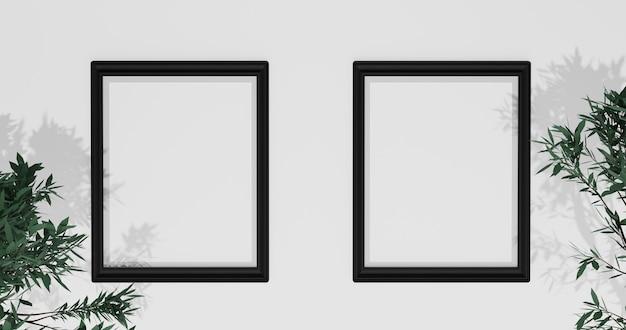 Maquete de porta-retrato com folhas na parede branca, renderização em 3d
