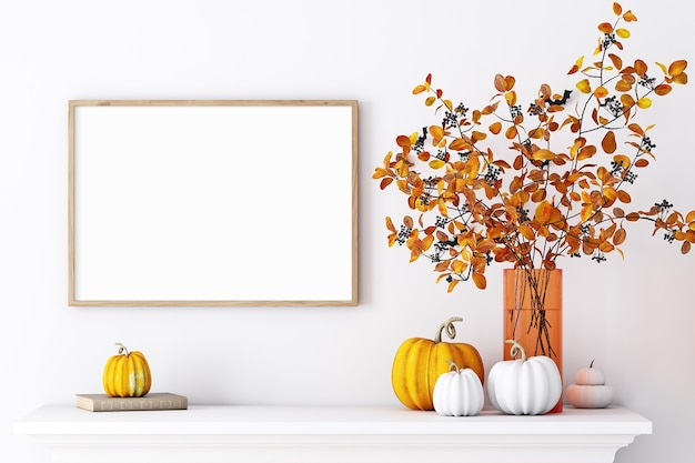 Maquete de porta-retratos em decoração de outono