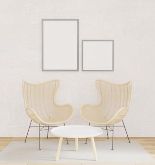 Maquete de poster interior com duas cadeiras, piso de madeira, carpete com muro de concreto bruto