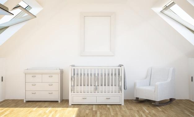 Maquete de pôster no quarto de bebê