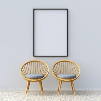 Maquete de quadro com cadeiras
