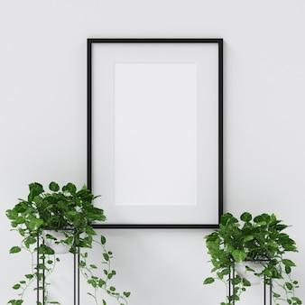 Maquete de quadro com decoração de plantas
