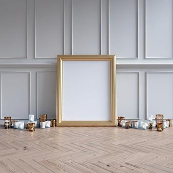 Maquete de quadro com objetos decorativos