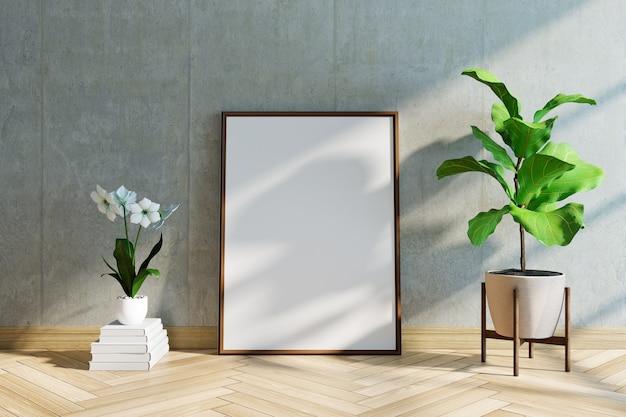 Maquete de quadro com planta, piso de madeira e parede de concreto, renderização em 3d
