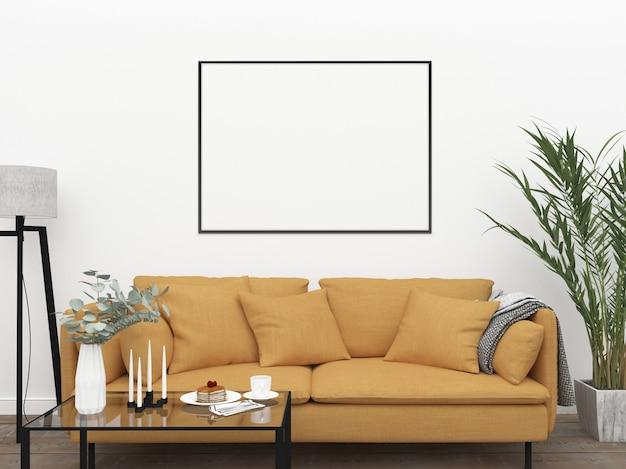 Maquete de quadro com sofá amarelo
