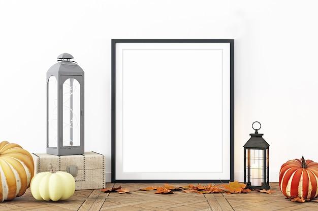 Maquete de quadro de decoração de outono com moldura preta
