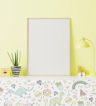 Maquete de quadro de pôster no quarto infantil em pé de cômoda com impressão de crianças engraçadas, com parede amarela no fundo, renderização em 3d
