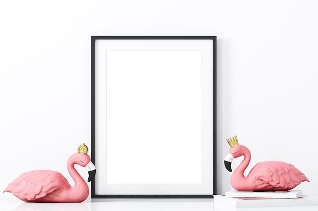 Maquete de quadro e flamingo