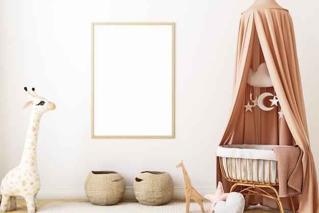 Maquete de quadro estilo boho no berçário para recém-nascidos