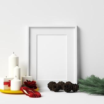 Maquete de quadro na parede branca com decoração de natal