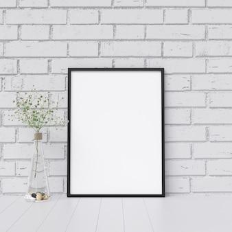 Maquete de quadro na parede de tijolo branco com decoração de planta