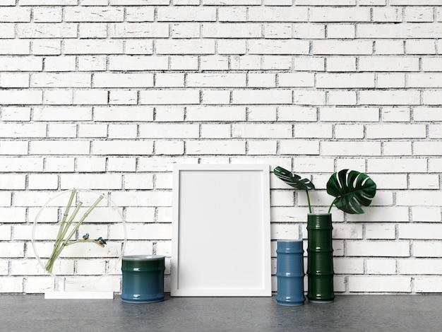 Maquete de quadro na parede de tijolo branco com decoração