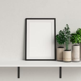 Maquete de quadro na prateleira branca com decoração de planta minimalista