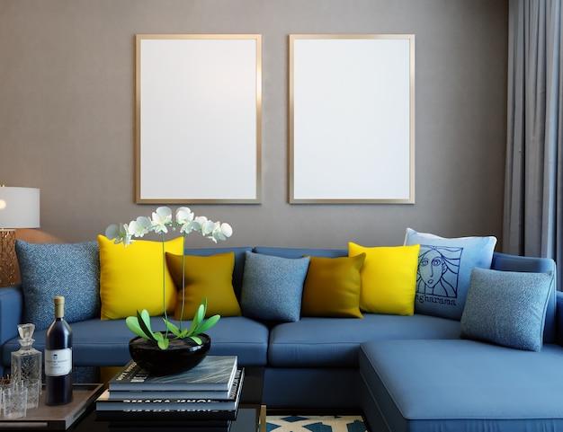 Maquete de quadro na sala de estar com móveis