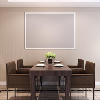 Maquete de quadro na sala de jantar com decorações