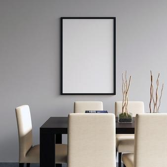 Maquete de quadro na sala de jantar