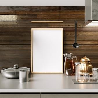 Maquete de quadro no armário de cozinha com decorações