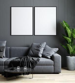 Maquete de quadro no interior da sala de estar, sofá cinza, mesa de centro, piso de madeira com plantas frescas, parede cinza, renderização 3d