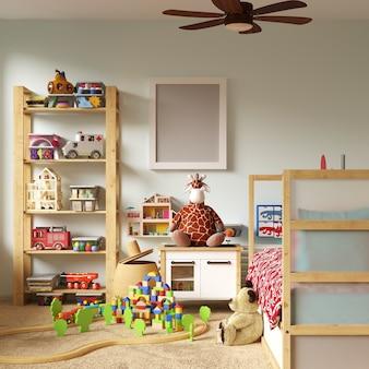 Maquete de quadro no quarto das crianças