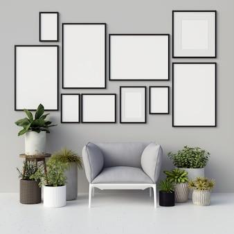 Maquete de quadros com decorações de plantas