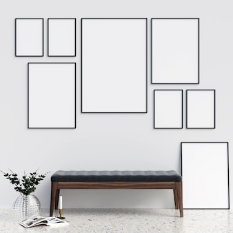 Maquete de quadros com decorações minimalistas