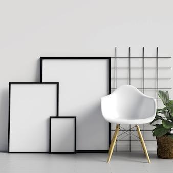 Maquete de quadros na parede com decoração de cadeira e planta