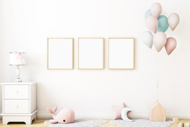 Maquete de quarto de bebê com balões maquete de quadro 8x 10