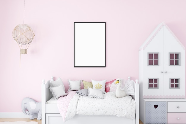Maquete de quarto infantil a4 rosa