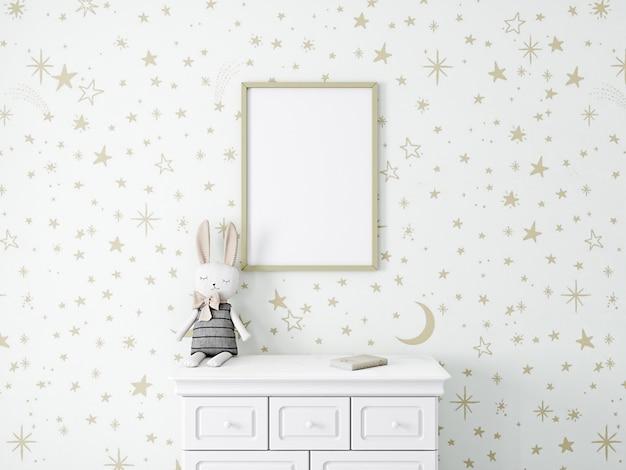 Maquete de quarto infantil com papel de parede de estrelas douradas
