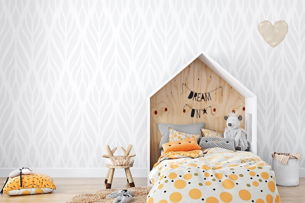 Maquete de quarto infantil em estilo boho
