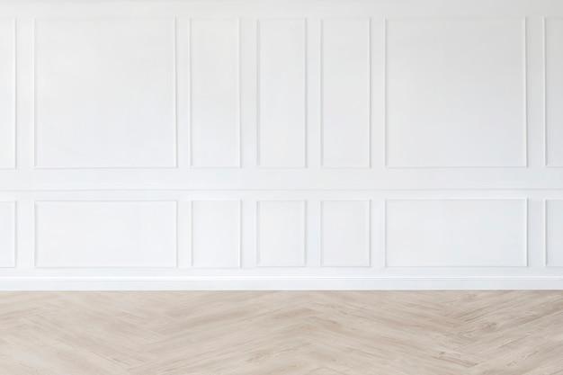 Maquete de quarto vazio mínimo com parede branca estampada