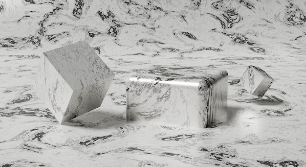 Maquete de renderização 3d branco-cinza abstrato textura de mármore tela de palco