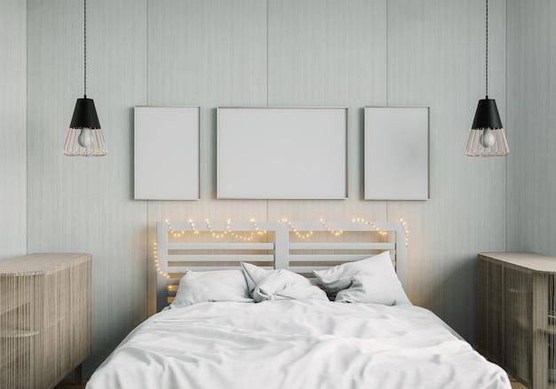 Maquete de renderização 3d cama interior para casa com elementos de decoração. moldura de madeira.