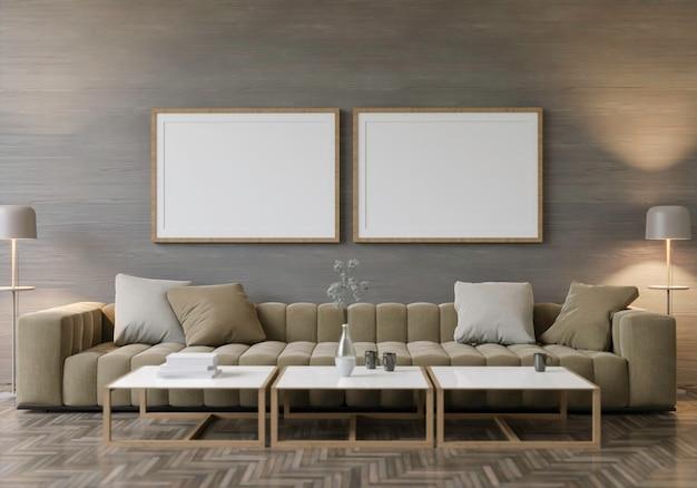 Maquete de renderização 3d interior home com elementos de decoração. moldura de madeira.