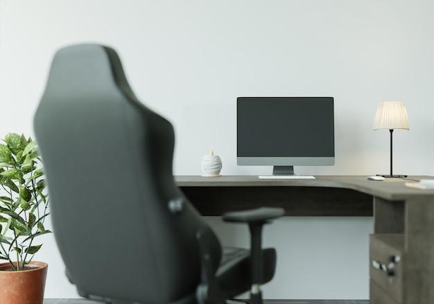 Maquete de renderização 3d mesa de trabalho interior para casa com elementos de decoração. moldura de madeira.