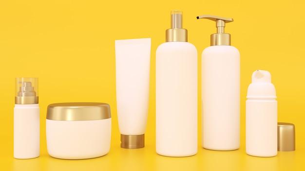 Maquete de renderização 3d para embalagens de cosméticos