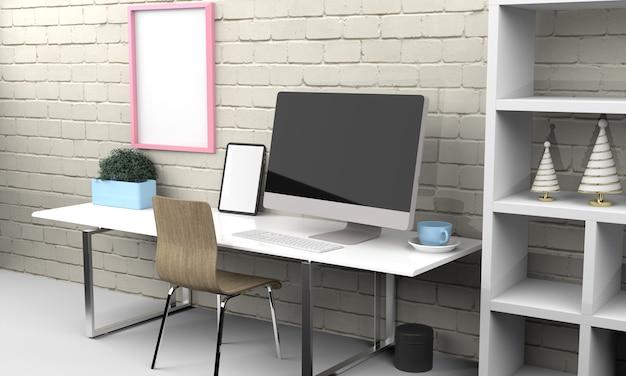 Maquete de renderização em 3d de computador e tablet. ilustração 3d