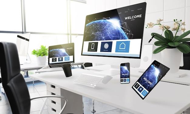 Maquete de renderização em 3d de computadores, dispositivos móveis e diversos materiais de escritório flutuando no ar no escritório mostrando a página de destino