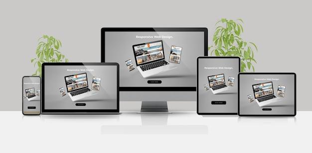 Maquete de renderização em 3d de site responsivo de dispositivos