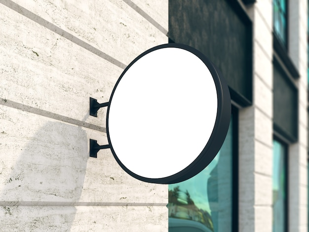 Maquete de sinal de parede pendurado, outdoor redondo