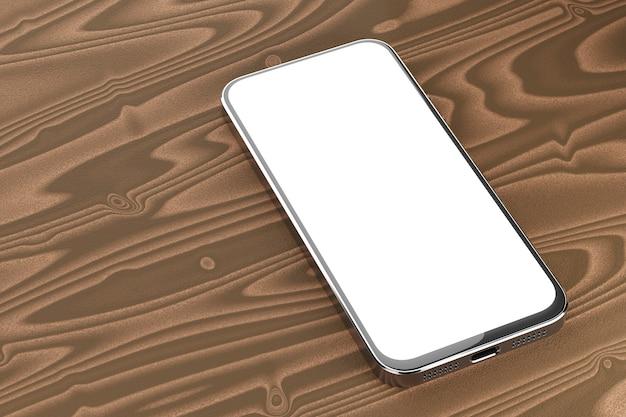 Maquete de smartphone com tela branca. maquete de smartphone para o design de seu aplicativo ou site. o smartphone encontra-se sobre uma mesa de madeira. renderização 3d.