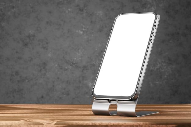 Maquete de smartphone com tela branca. uma maquete de um smartphone em um suporte sobre uma mesa de madeira e um fundo escuro. renderização 3d.